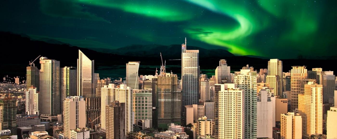 Makati skyline with Northern Lights